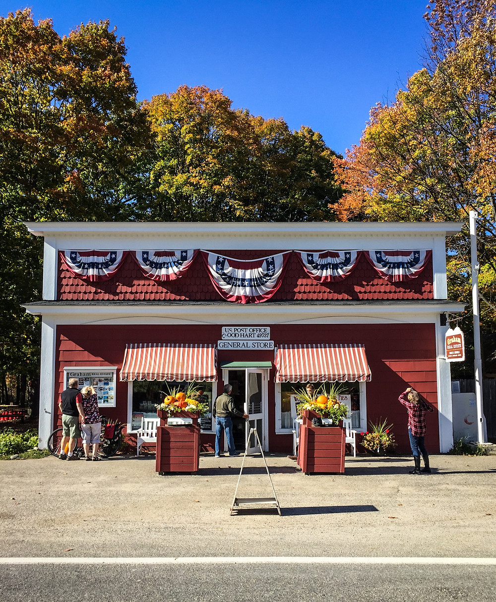 The Good Hart General Store in Good Hart along M-119 in Northern Michigan's iconic Tunnel of Trees.