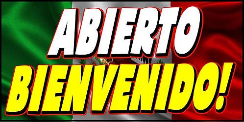 ABIERTO / BIENVENIDOS 3x5 Banner Flag