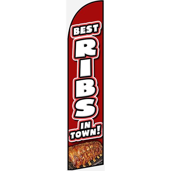 BEST RIBS IN TOWN Feather Flag