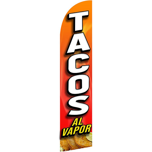TACOS AL VAPOR Feather Flag