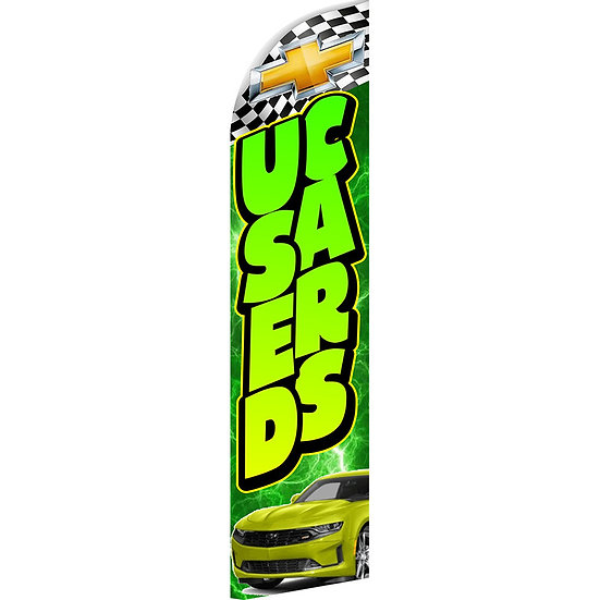 USED CARS CHEVY GREEN Feather Flag