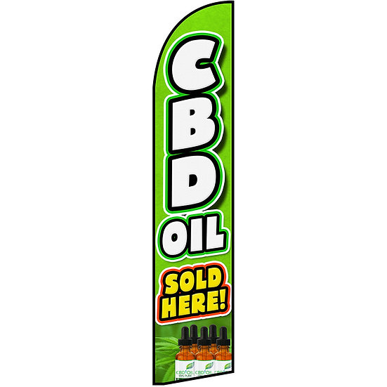 CBD OIL SOLD HERE Feather Flag