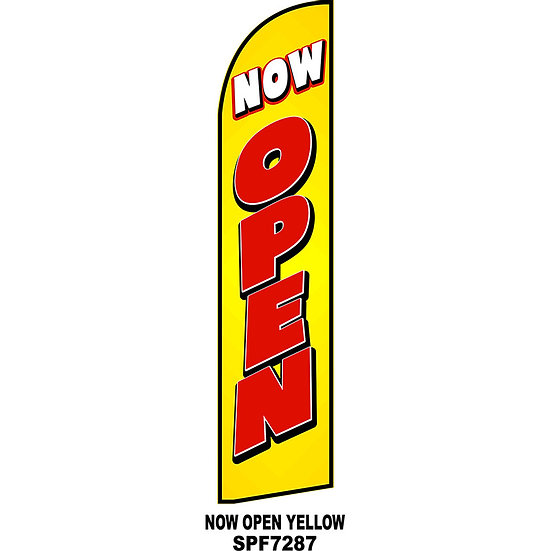 NOW OPEN YELLOW SPF7287 Feather Flag