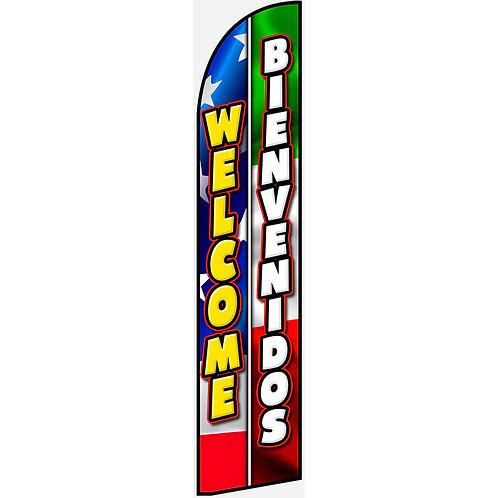 WELCOME BIENVENIDOS Feather Flag