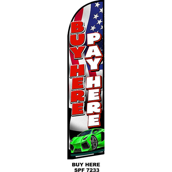 BUY HERE PAY HERE AMERICAN Feather Flag