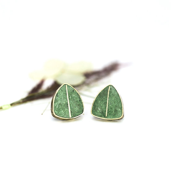 Green Brass 'Shield' Studs