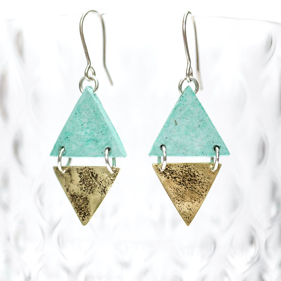 Double Triangle Brass and Paper Earrings
