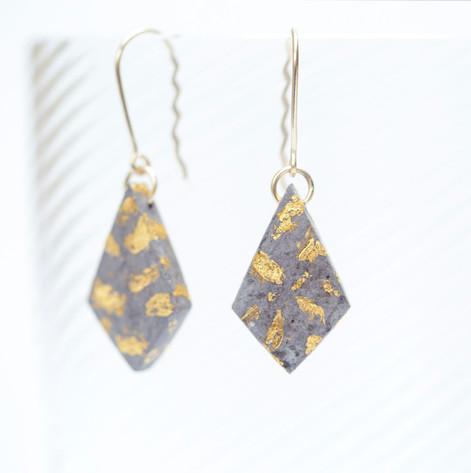 9ct Gold, Paper Diamond Earrings