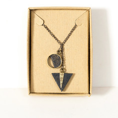 Long brass and paper necklace