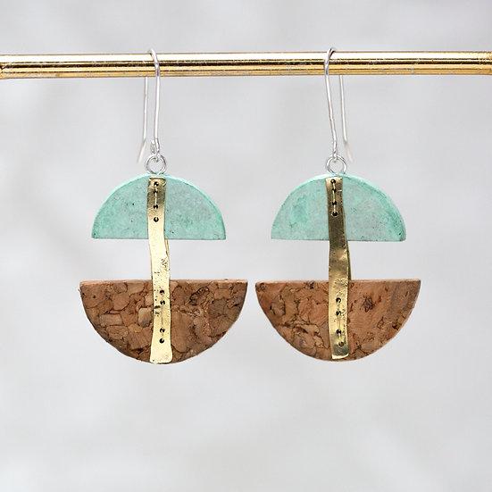 Paper, Brass & Cork Earrings