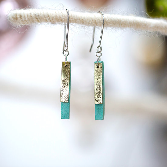 Vintage Brass and Paper 'Matchstick' Earrings