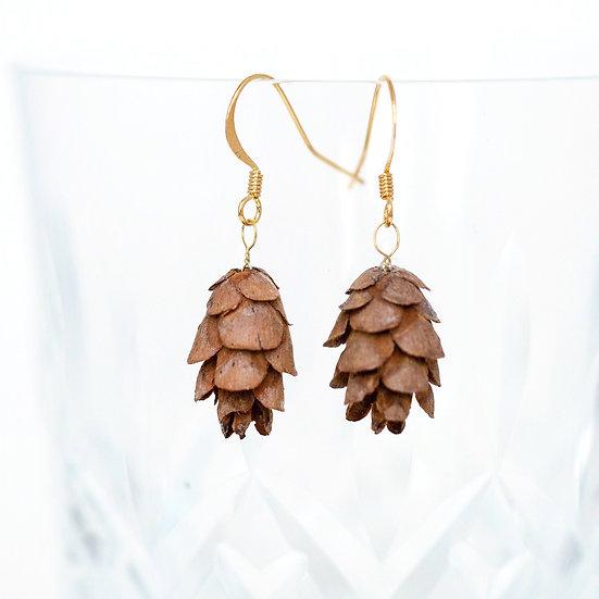 Natural Pine Cone Earrings