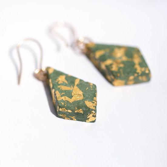 Gold Filled Green Paper Diamond Earrings