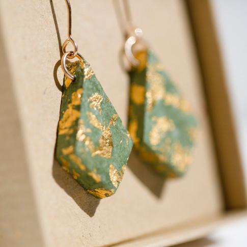 Green Paper Diamond Earrings, Gold Filled