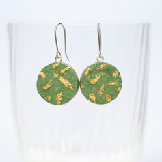 Gold Leaf Round Paper Earrings