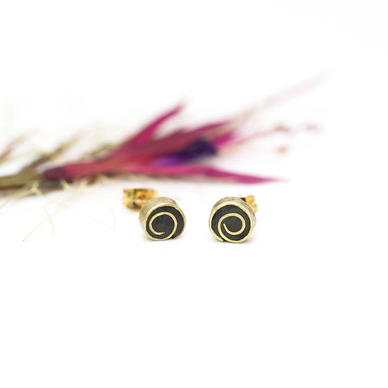 Vintage Brass and Paper 'Swirl' Studs
