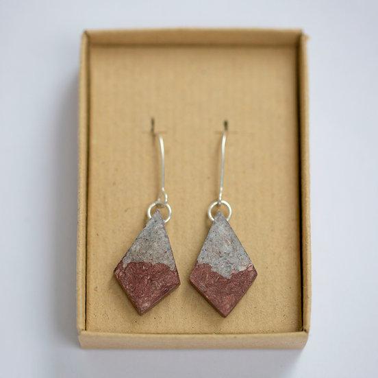 Birch Dyed Paper Diamond Earrings