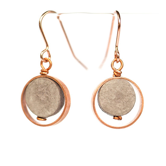 Copper and Paper Round Earrings