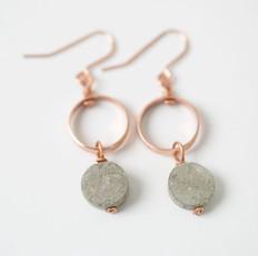 Long Copper Drop Earrings, 'Grey Green'