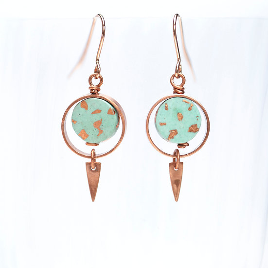 Copper and Paper Earrings, 'Turquoise Blue'