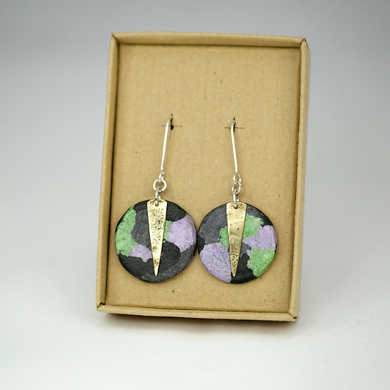 'Camo' Brass and Paper earrings