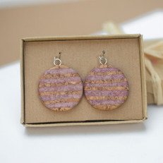 Cork and Paper Striped Earrings