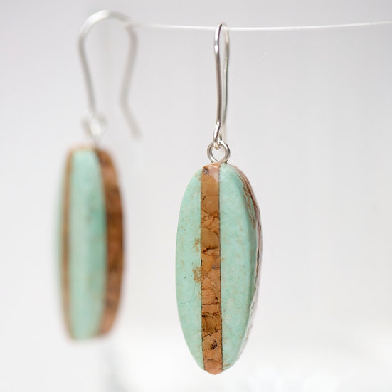 Turquoise Paper and Cork and Earrings