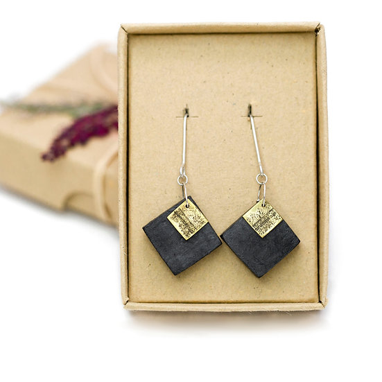 Vintage Brass and Paper 'Square' Earrings