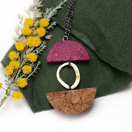 Long Paper, Cork & Brass Necklace
