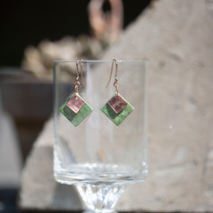 Copper and Paper Square Earrings