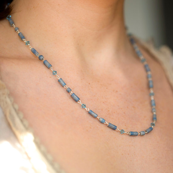 Recycled Silver and Paper Necklace.