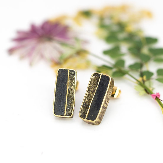 Paper and Brass 'Rectangle' Studs