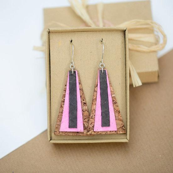 Pink Paper and Cork Long Petal Earrings