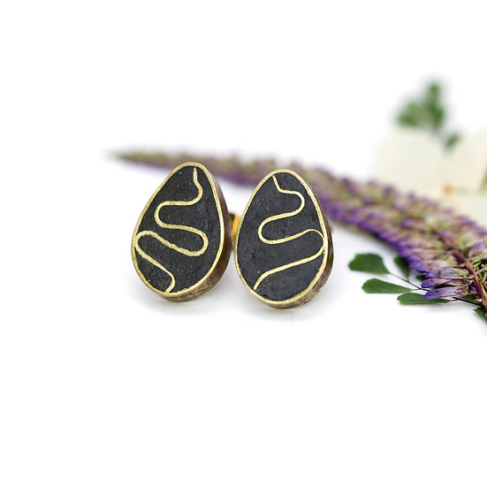Black Brass 'Egg' Studs