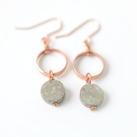 Long copper drop earrings