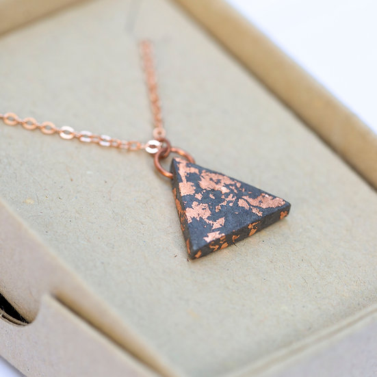 Copper Leaf Triangle Necklace