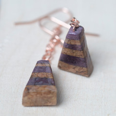 Cork and Paper Striped Triangle Earrings