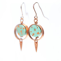 Copper and Paper Earrings 'Turquoise Blue'