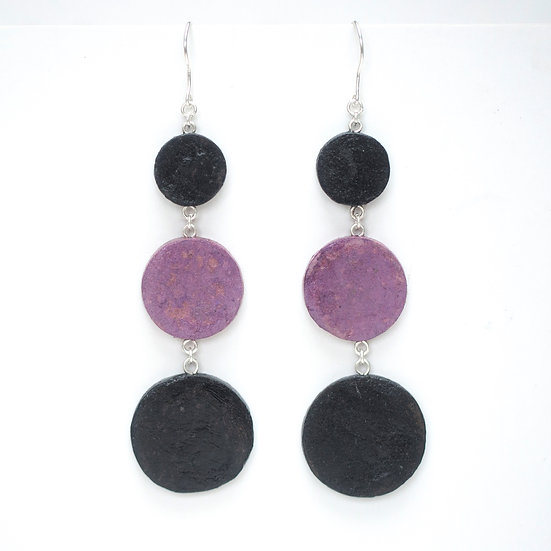 Long Three Tier Round Earrings