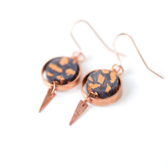 Copper and Paper Earrings, 'Midnight Blue'