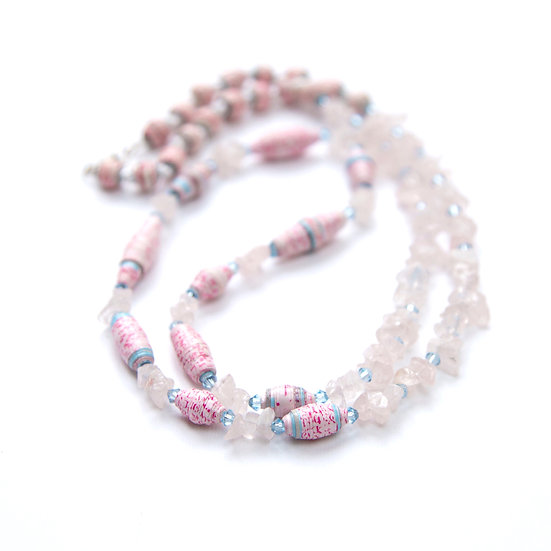 Pink and Blue Paper Bead Necklace