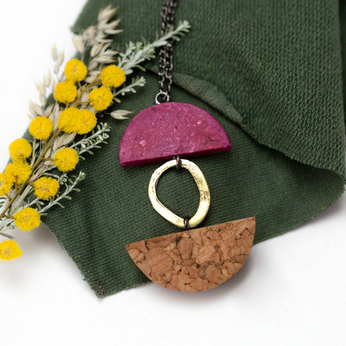 Paper, Cork and Brass Necklace
