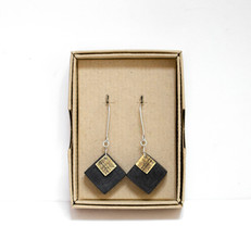 Paper and Brass Square Earrings