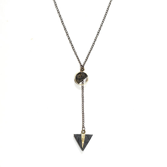 Long Paper and Brass Necklace