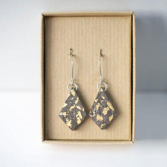 Gold Leaf Paper Diamond Earrings