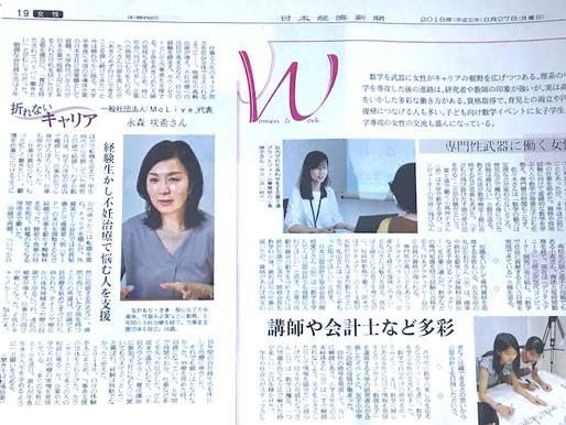 「折れないキャリア」日本経済新聞(2018.8.27)