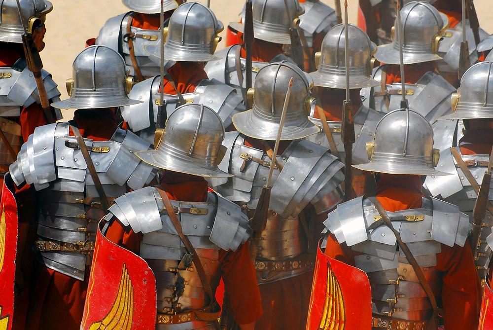 Backside of roman soldiers during Roman show in Jerash, Jordan.jpg