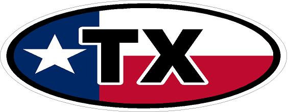 TX Oval Vinyl Sticker