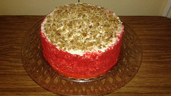 Red Velvet Cake w/ Crumbles & Nuts