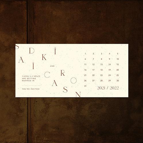 Alpha Calendar DIY card